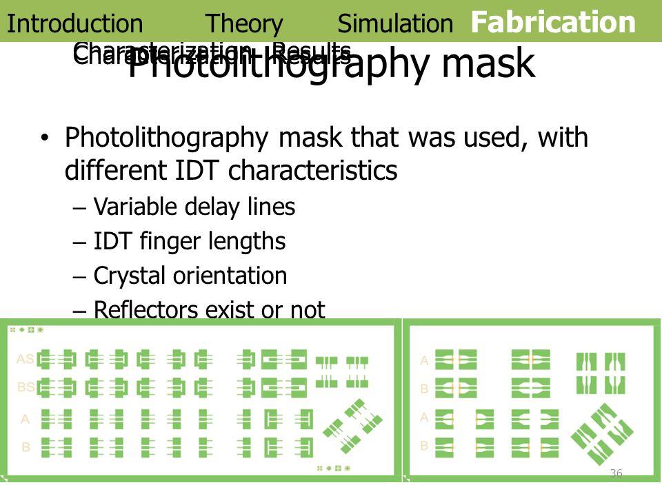 Photolithography mask