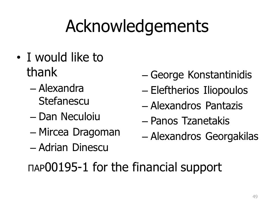 Acknowledgements I would like to thank Alexandra Stefanescu