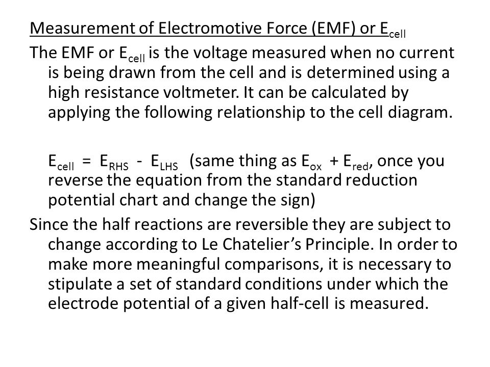 Measurement of Electromotive Force (EMF) or Ecell