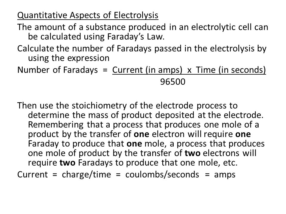 Quantitative Aspects of Electrolysis