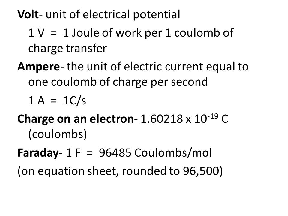 Volt- unit of electrical potential