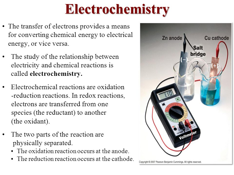 Electrochemistry The transfer of electrons provides a means