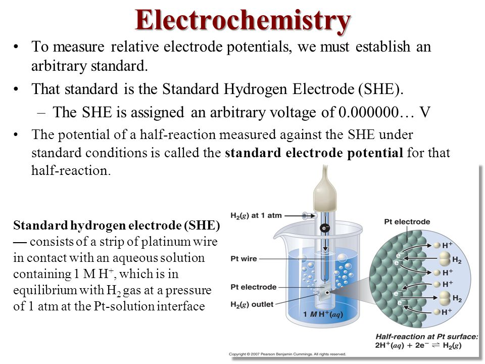 Electrochemistry To measure relative electrode potentials, we must establish an arbitrary standard.