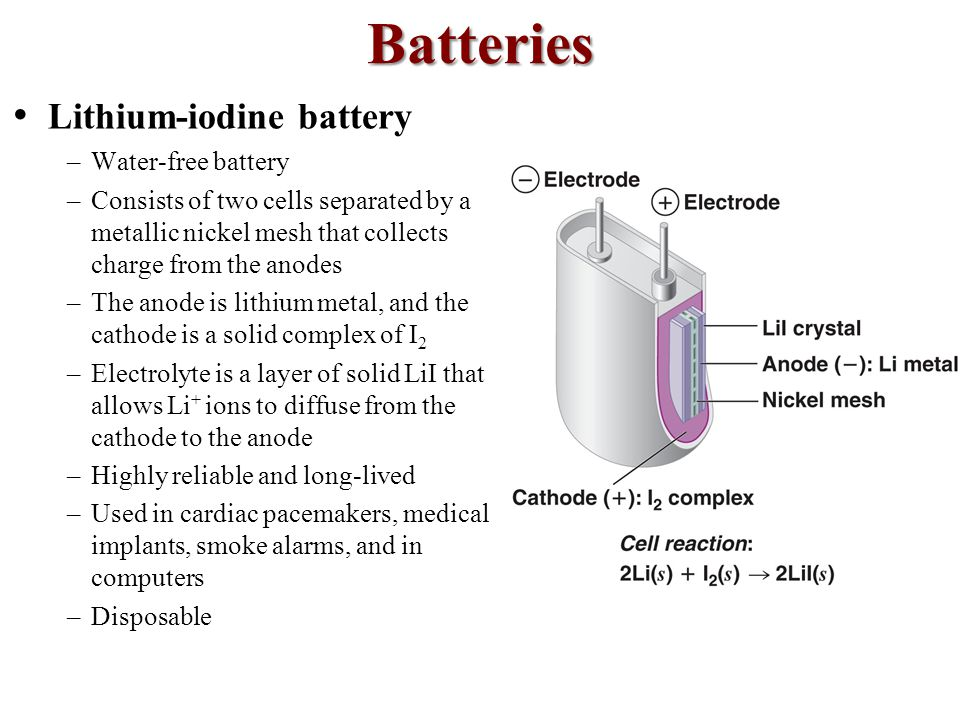 Batteries • Lithium-iodine battery Water-free battery