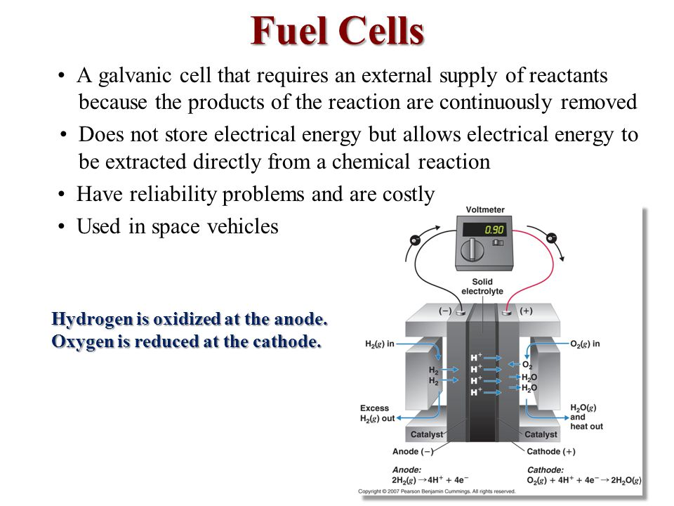 Fuel Cells • A galvanic cell that requires an external supply of reactants because the products of the reaction are continuously removed.