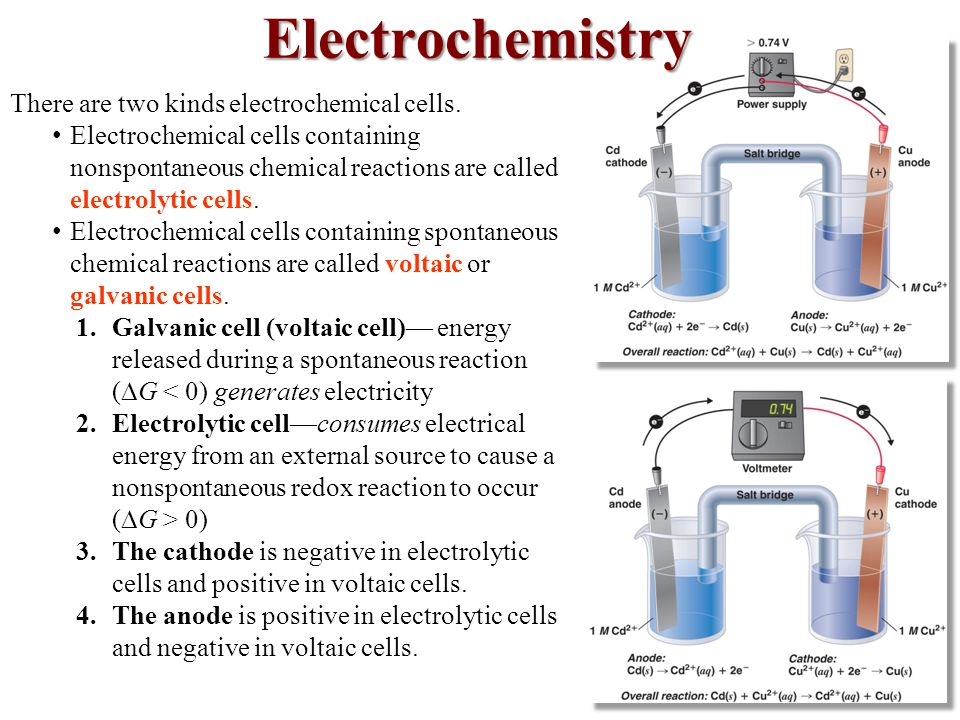 Electrochemistry There are two kinds electrochemical cells.