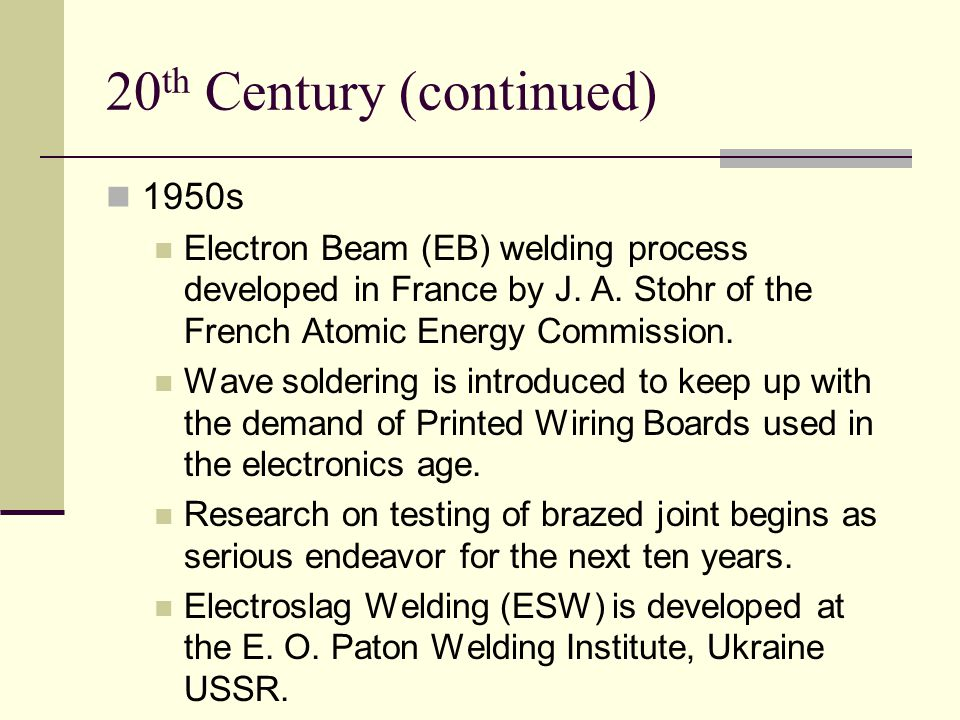 20th Century (continued)