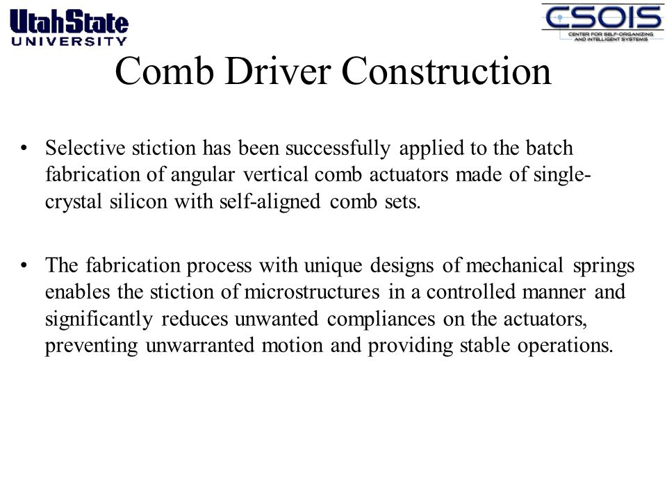 Comb Driver Construction