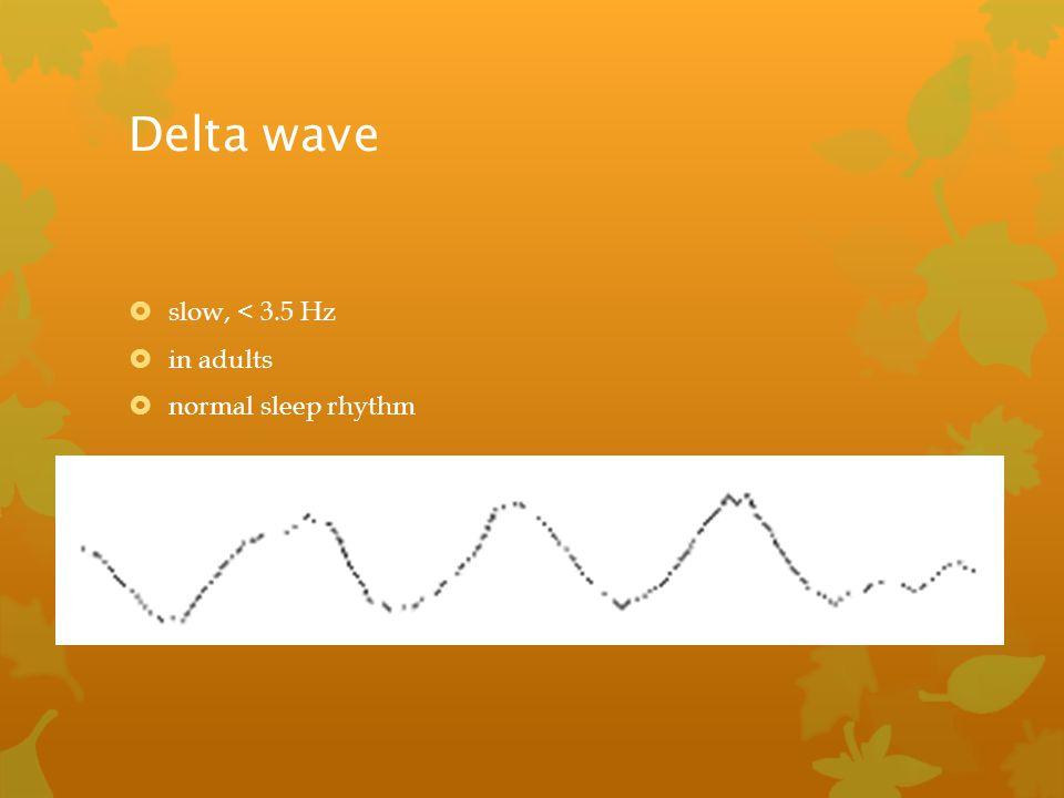 Delta wave slow, < 3.5 Hz in adults normal sleep rhythm