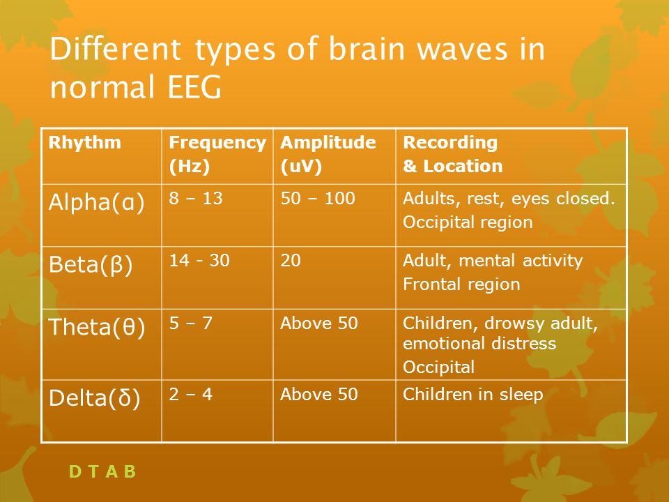 Different types of brain waves in normal EEG