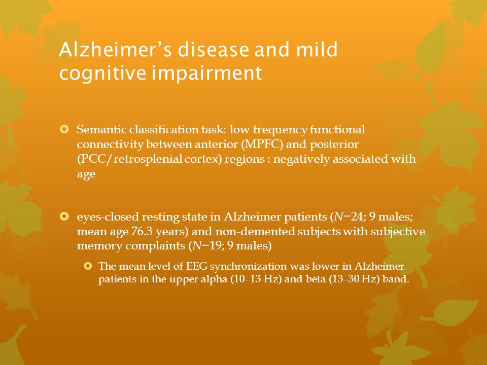 Alzheimer's disease and mild cognitive impairment