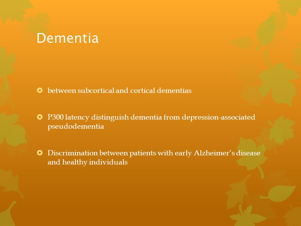 Dementia between subcortical and cortical dementias
