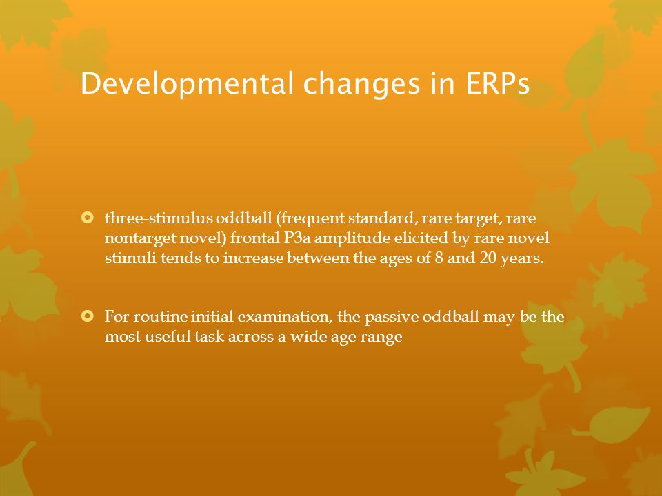 Developmental changes in ERPs