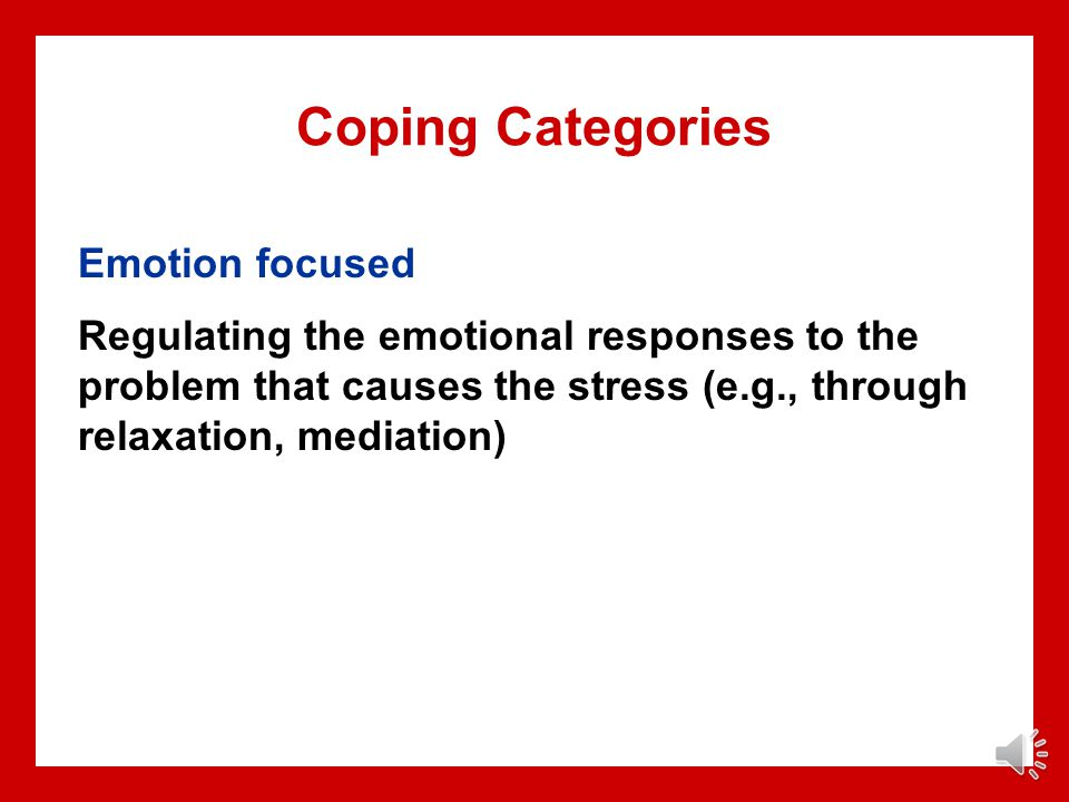 Coping Categories Emotion focused