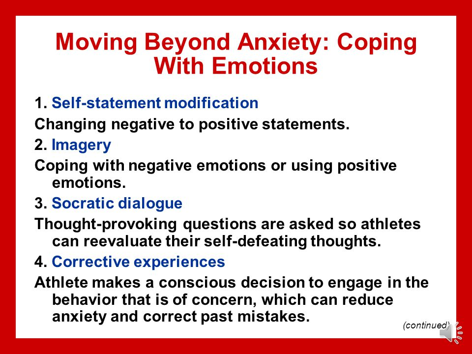 Moving Beyond Anxiety: Coping With Emotions