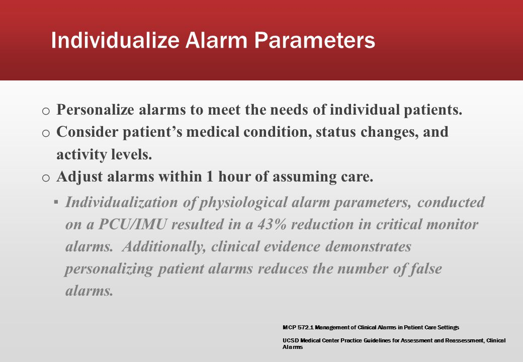 Individualize Alarm Parameters