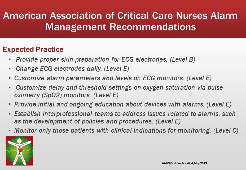 American Association of Critical Care Nurses Alarm Management Recommendations