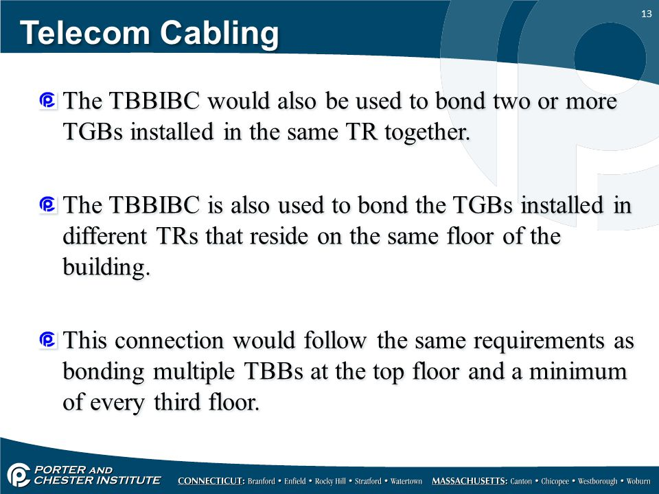 Telecom Cabling The TBBIBC would also be used to bond two or more TGBs installed in the same TR together.