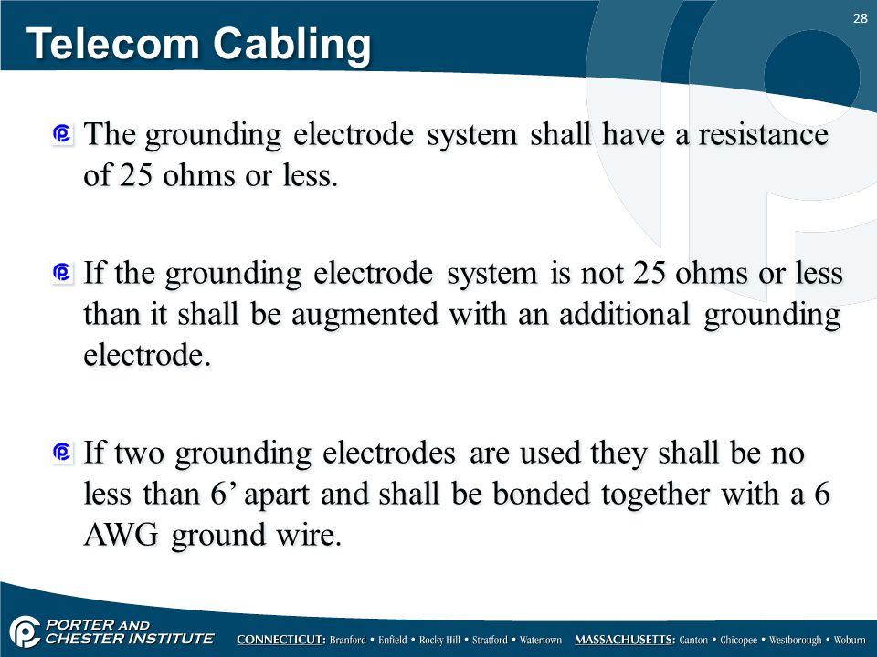 Telecom Cabling The grounding electrode system shall have a resistance of 25 ohms or less.