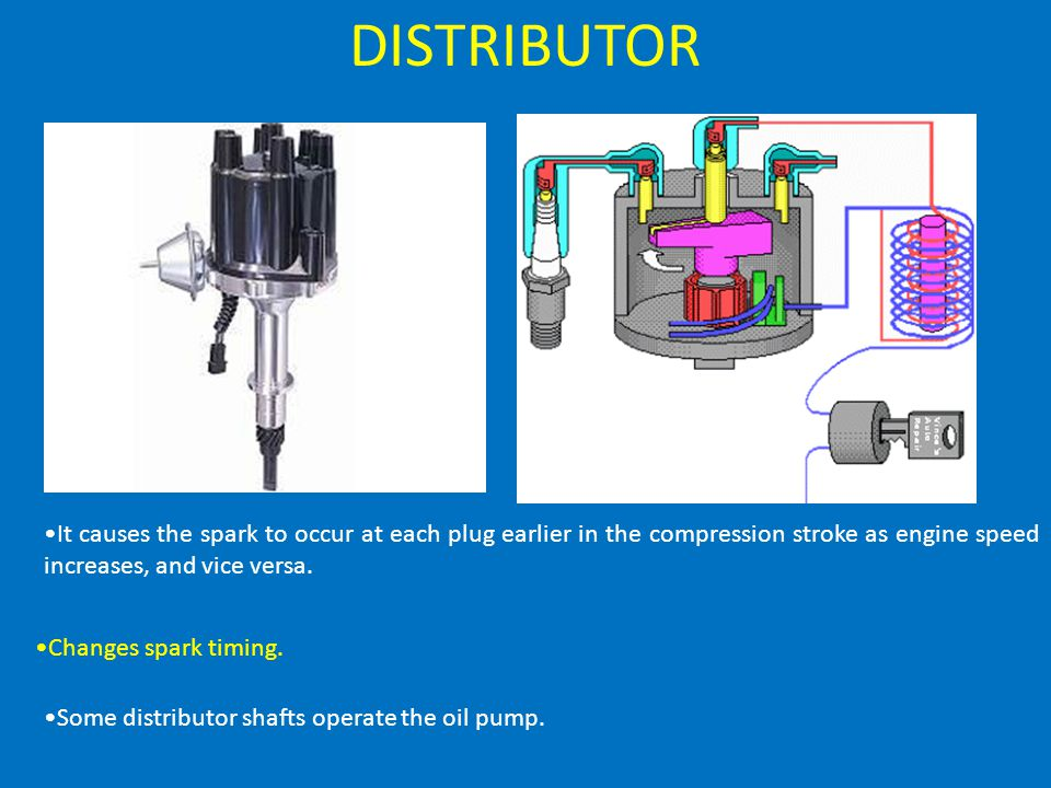 DISTRIBUTOR It causes the spark to occur at each plug earlier in the compression stroke as engine speed increases, and vice versa.