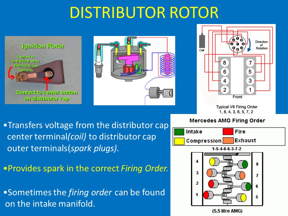 DISTRIBUTOR ROTOR Transfers voltage from the distributor cap