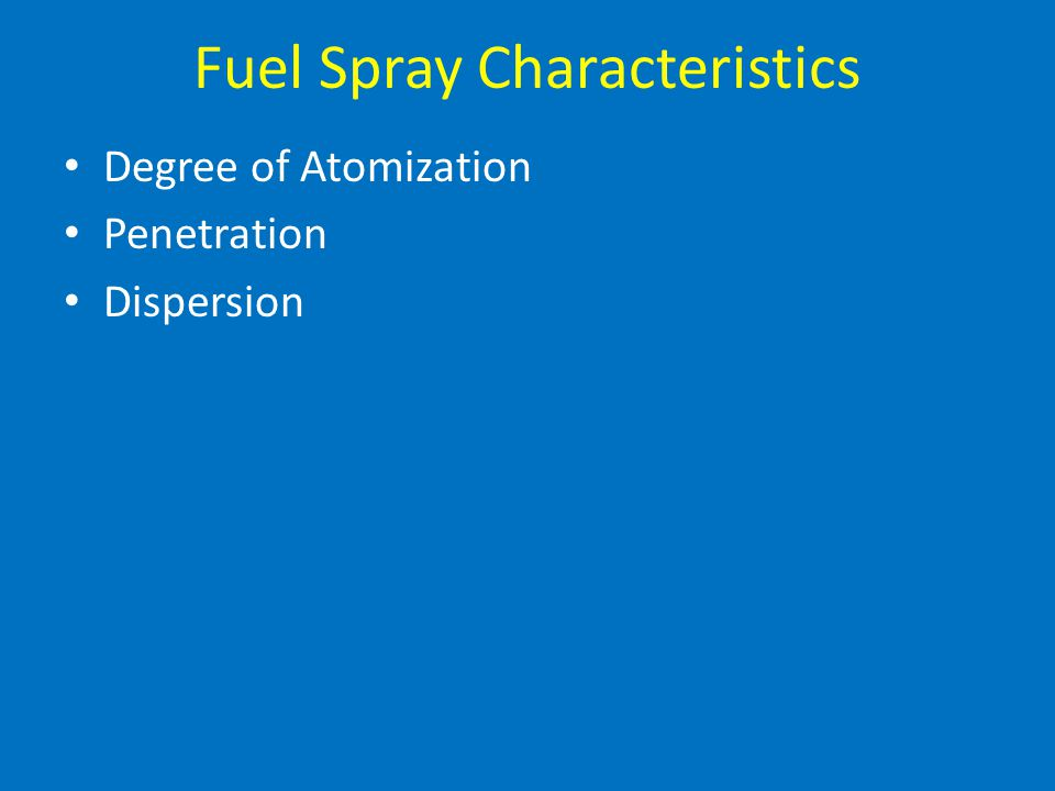 Fuel Spray Characteristics