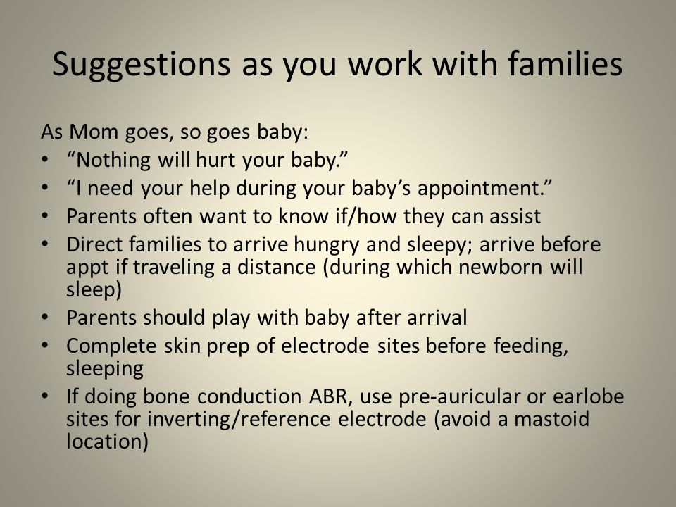 Suggestions as you work with families
