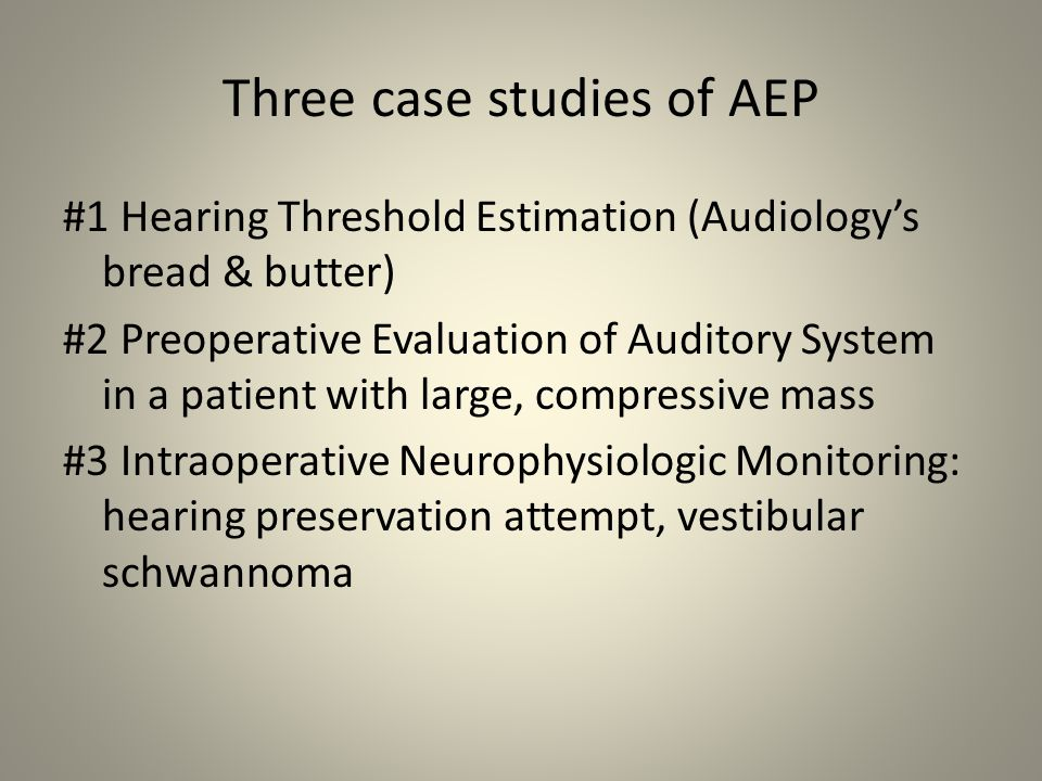 Three case studies of AEP