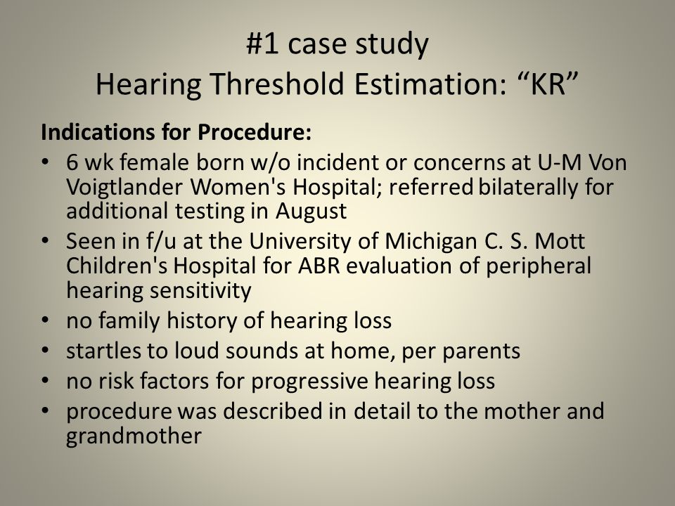 #1 case study Hearing Threshold Estimation: KR