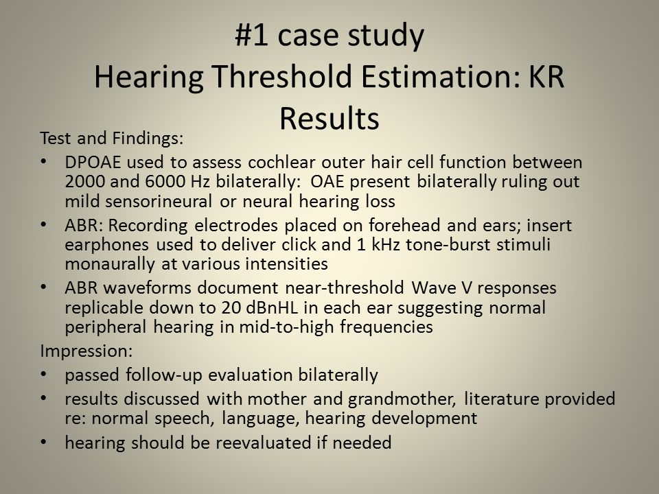 #1 case study Hearing Threshold Estimation: KR Results
