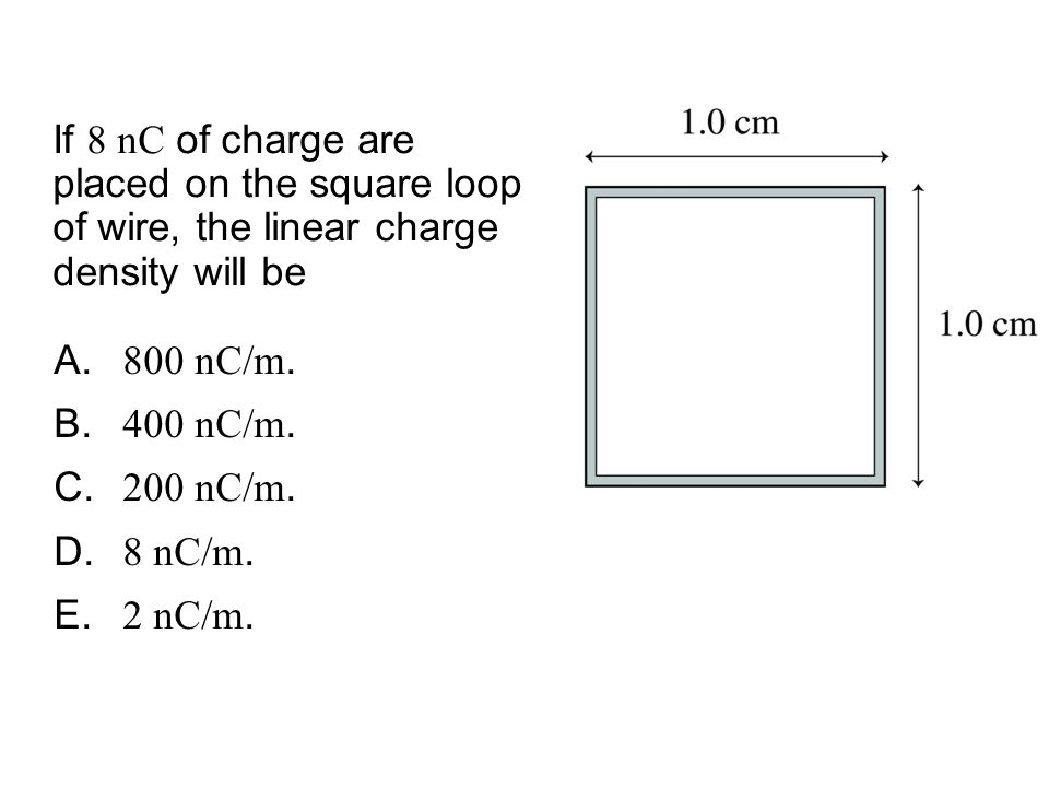 QuickCheck 26.6 If 8 nC of charge are placed on the square loop of wire, the linear charge density will be.