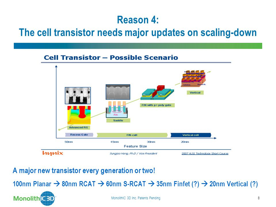 Reason 4: The cell transistor needs major updates on scaling-down