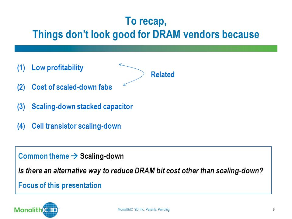 To recap, Things don't look good for DRAM vendors because