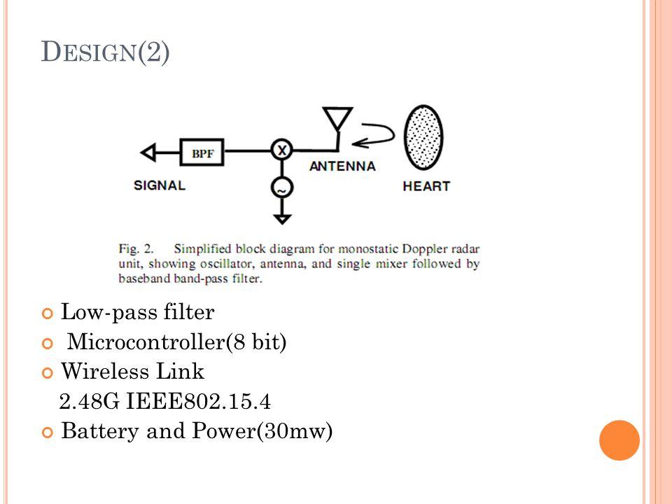 Design(2) Low-pass filter Microcontroller(8 bit) Wireless Link