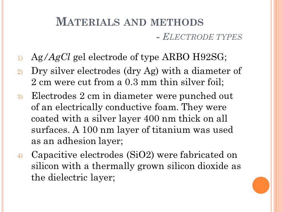 Materials and methods - Electrode types