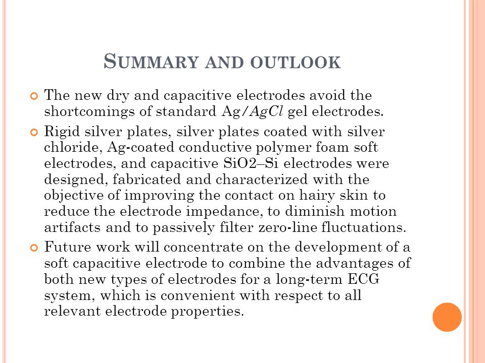 Summary and outlook The new dry and capacitive electrodes avoid the shortcomings of standard Ag/AgCl gel electrodes.
