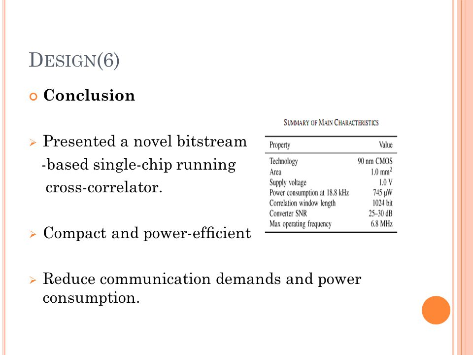 Design(6) Conclusion Presented a novel bitstream
