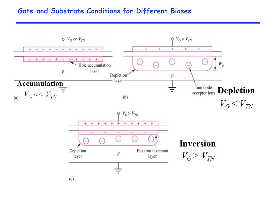 Gate and Substrate Conditions for Different Biases