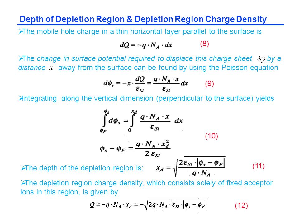 Depth of Depletion Region & Depletion Region Charge Density