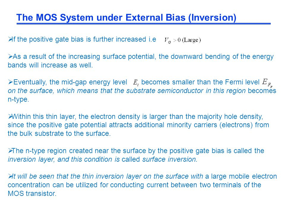 The MOS System under External Bias (Inversion)