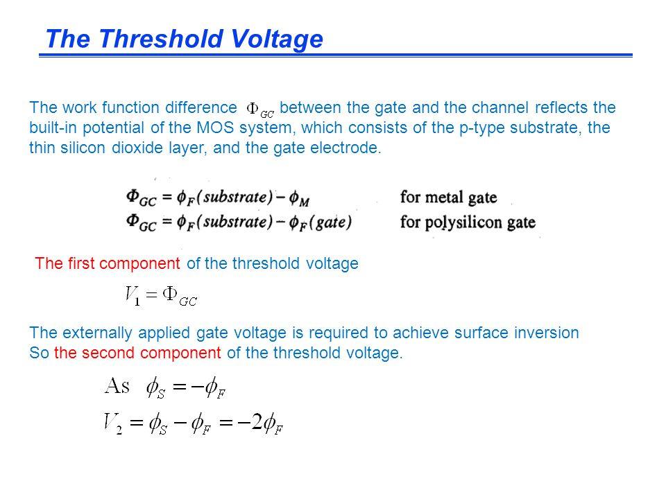 The Threshold Voltage