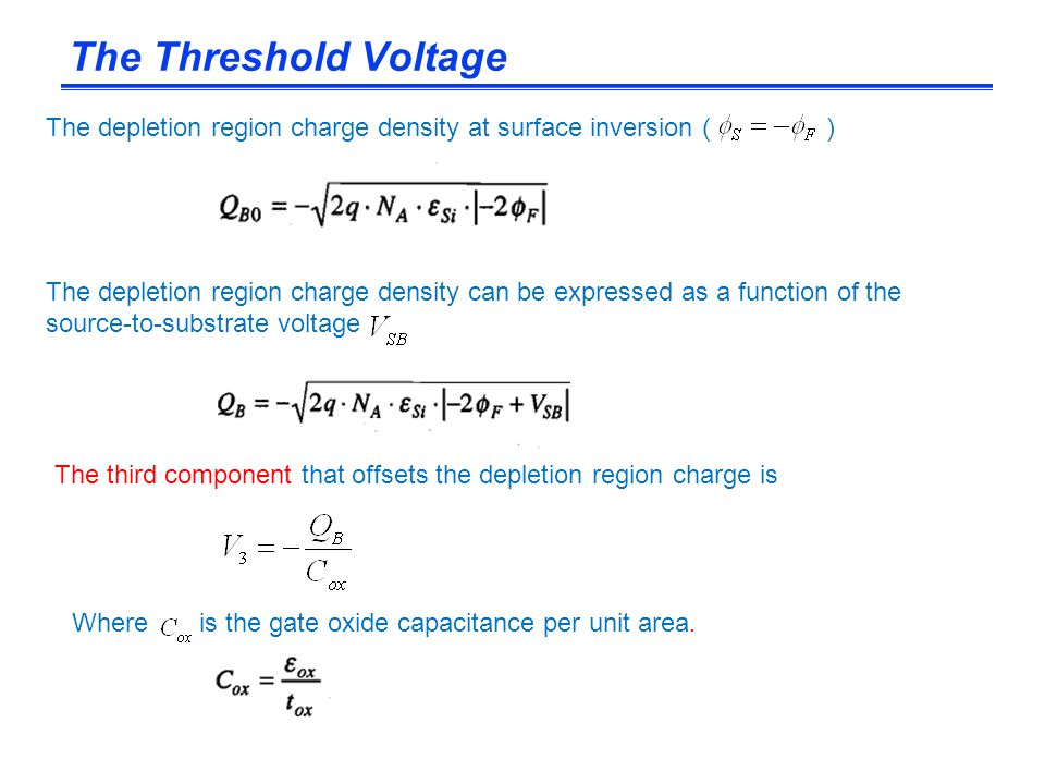 The Threshold Voltage The depletion region charge density at surface inversion ( )