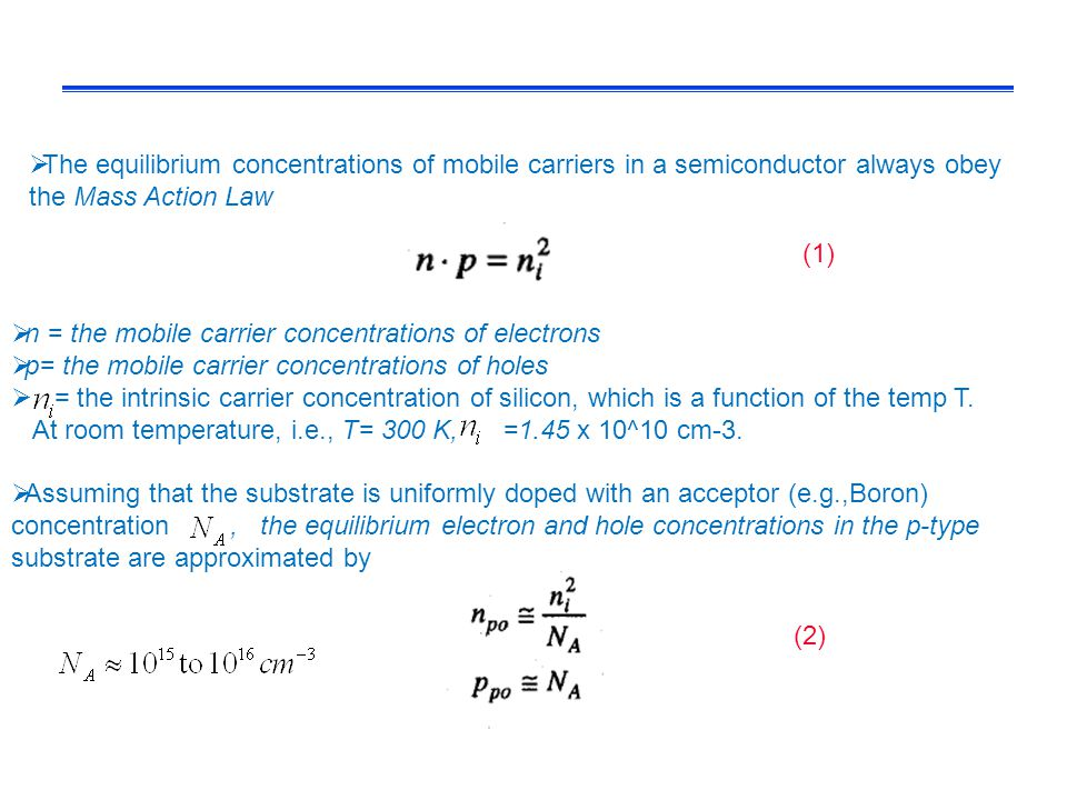 The equilibrium concentrations of mobile carriers in a semiconductor always obey the Mass Action Law