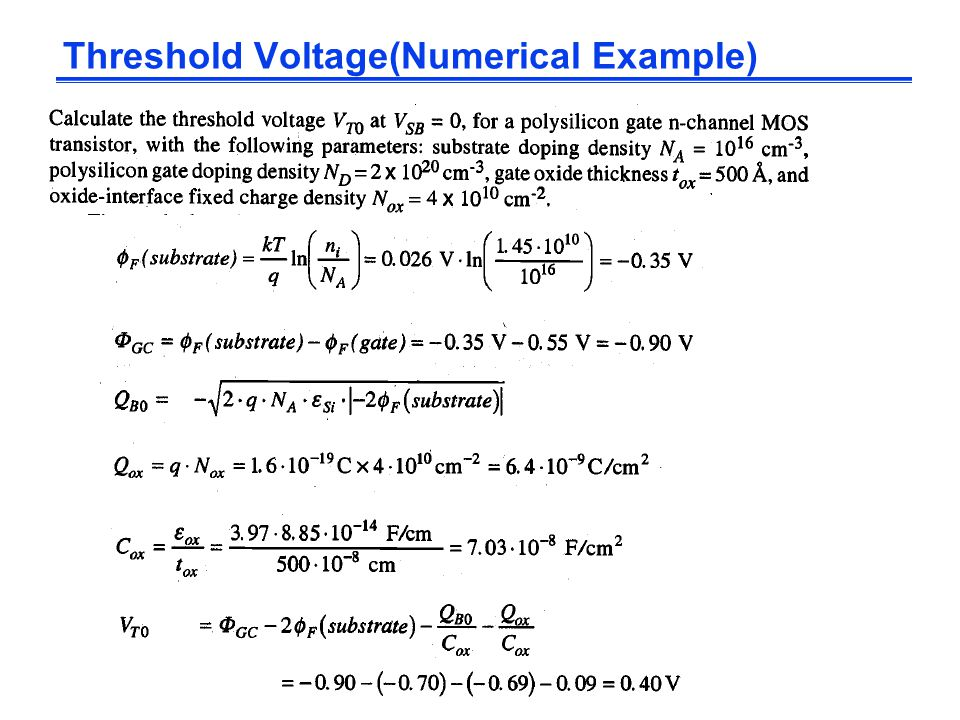 Threshold Voltage(Numerical Example)