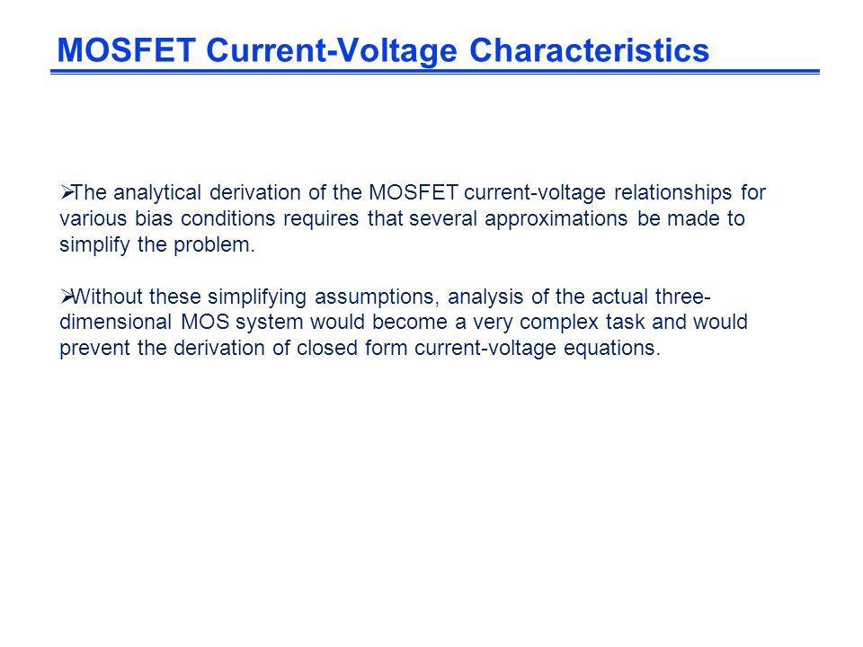 MOSFET Current-Voltage Characteristics