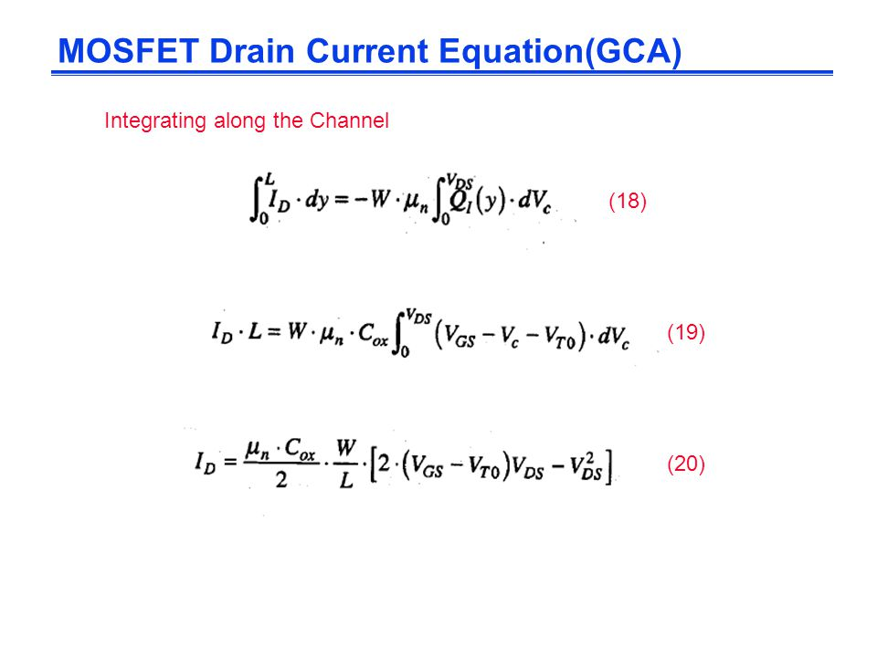 MOSFET Drain Current Equation(GCA)