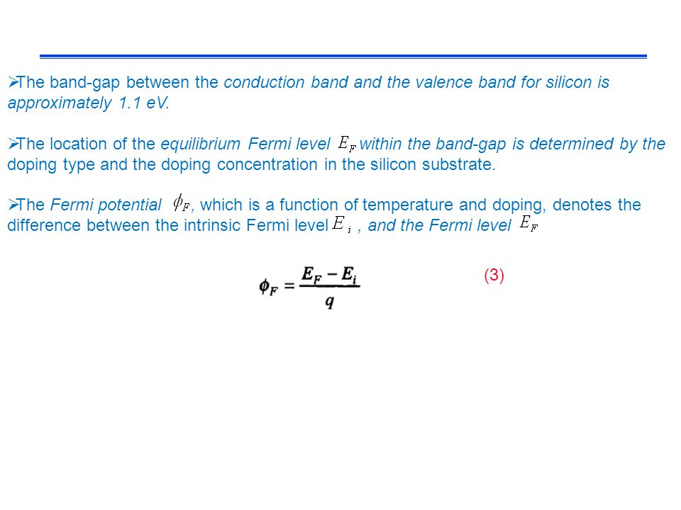 The band-gap between the conduction band and the valence band for silicon is approximately 1.1 eV.