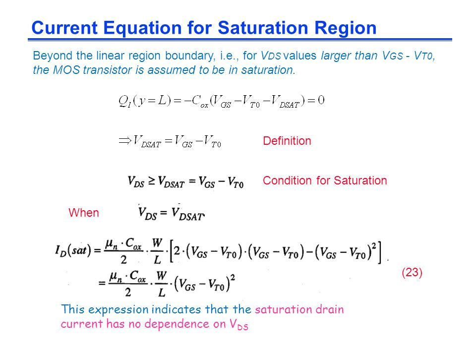 Current Equation for Saturation Region