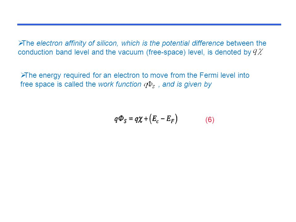 The electron affinity of silicon, which is the potential difference between the conduction band level and the vacuum (free-space) level, is denoted by