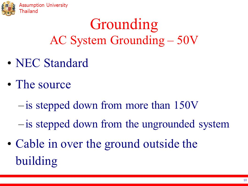 Grounding AC System Grounding – 50V